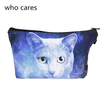 Who cares Women Neceser Portable Make Up Bag 3D Print Ghost Cat Blue Organizer Bolsa feminina Travel Toiletry Bag Cosmetic Bag