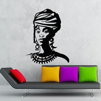 Wall Sticker Vinyl Decal Black Lady Africa Beautiful Girl (ig1201)