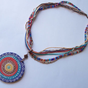Bohemian Necklace, polymer clay pendant, 9 strand necklace