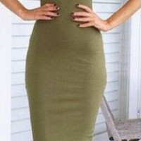 Army Green Strapless Bodycon Tube Midi Dress