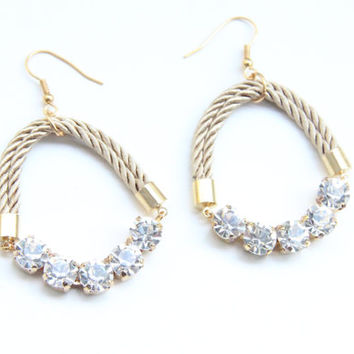 SPRING SALE - 20% OFF! Love Rocks earrings - rhinestones and silk cord - 24k gold plated