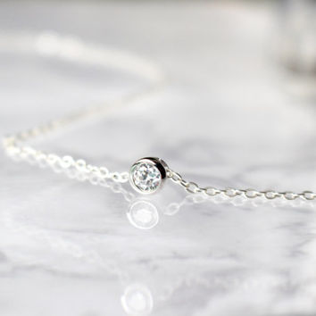 Sterling Silver Crystal Necklace, Solitaire Necklace, Bezel Necklace, CZ Necklace, Delicate Necklace, Simple Necklace, Layering Necklace