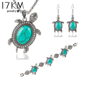17KM Vintage Tone Animal Tortoise Jewelry Sets Blue Stone Earrings Necklace Bracelet Women Little Turtle Accessories