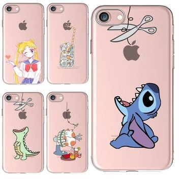 Thick Soft Silicon Cover Case For Apple iPhone 7 6 6S Plus 5 5S SE Cases Phone Shell Painted Lovely Sailor Moon Naughty Kitten