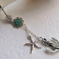 Choose Your Color, Anchor and Starfish Belly Button Ring, Belly Button Jewelry, Navel Ring, Dangle Belly Ring