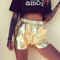 Casual Summer Hot Sale Metal Sexy Strong Character Stylish Mini Pants [11524134351]