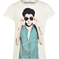 Girls white Justin Bieber embellished t-shirt - t-shirts / tanks / tops - sale - girls