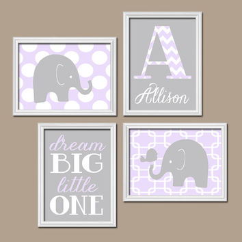 Girl ELEPHANT Nursery Wall Art Canvas or Prints Lilac Gray Nursery Baby Girl Nursery Wall Art Girl Bedroom Girl Artwork Crib Decor Set of 4