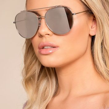 Reflections Of You Silver Mirrored Aviator Sunglasses