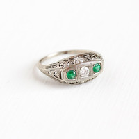 Antique 14k White Gold Diamond and Emerald Filigree Ring - Vintage Art Deco 1920s 1930s Fine Engagement Bridal Green Gemstone Jewelry
