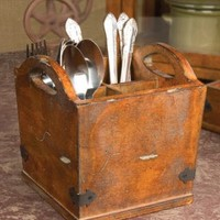 Vintage Style Wooden Cutlery Silverware Holder
