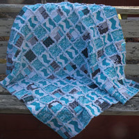 New Ready To Ship Turquoise Chevron White Black Grey Throw Rag Quilt Blanket