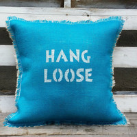 "Turquoise Burlap Pillow, Rustic Decor, Customize Burlap Pillow, 18""x18"""