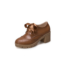 Casual Lace Up Mid Heeled Oxford Shoes for Women Girls
