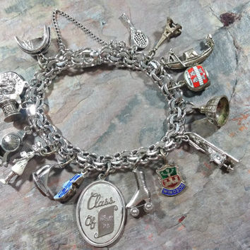 Winard Sterling Silver Vintage Charm Bracelet Chain with 16 Charms List In Description Below Nurse Mantle Clock Delft Shoe Paris Plus More