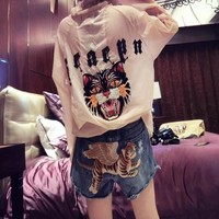 """Gucci"" Women Casual All-match Fashion Worn Ripped Fly Tiger Embroidery Denim Shorts Set"