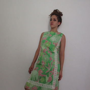 60s Vtg Floral Lace Shift Dress Lilly Pulitzer style large screen print