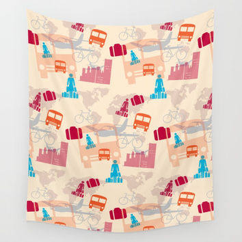 Travel Fever Wall Tapestry by mirimo