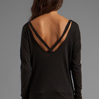 LA Made Slub Jersey Long Sleeve Open Back Tee in Black