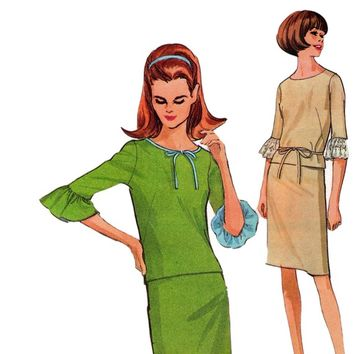 McCall's 8188 Ruffle Sleeve Top & Skirt 1960s Vintage Sewing Pattern Size 14 Bust 34 Inches