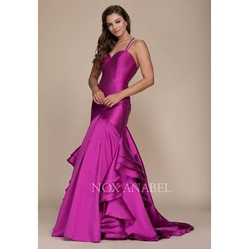 Magenta Mermaid Ruffled Prom Gown with Sweetheart Neckline