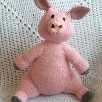 Pink Pig - Knit Pig Toy - Farm Animal Birthday Party
