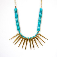 SUMMER SALE, Turquoise Statement Necklace - Tribal Warrior - Spring Jewelry, gold geometric jewelry