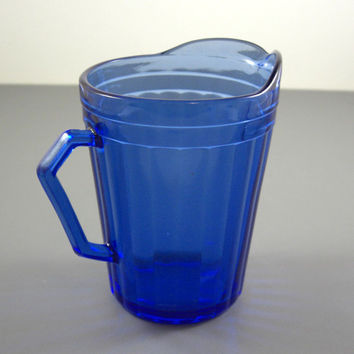 Cobalt Blue Glass Hazel Atlas AURORA Creamer Pitcher // Shirley Temple Style // from UBlinkItsGone