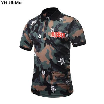 YH.JiuMu New Camouflage Polo Shirt Men Summer Floral Print Casual 3D Tops Tees T-Shirts Simple Fashion Polo Shirt YH0083