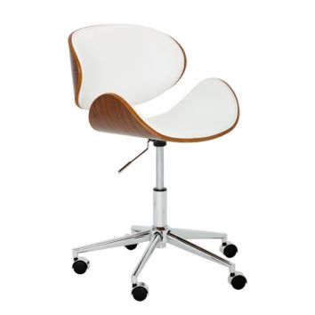 PRIDE ADJUSTABLE SEAT CURVED WITH VENEER WOOD WITH SNOW FAUX LEATHER SEAT WITH POLISHED STAINLESS STEEL BASE OFFICE CHAIR