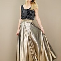 lamé vintage gold maxi skirt with elastic waistband and A-line cut | shopcuffs.com