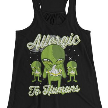 Women's Funny Alien T-Shirt Allergic To Humans Top Tank Space Shirts Graphic Tee Aliens Sick Funny Shirts Tanks Racerback