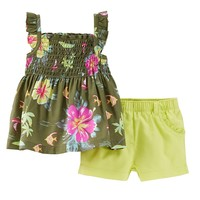 Carter's Tropical Flower Smocked Tank & Twill Shorts Set - Baby