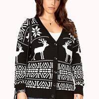 FOREVER 21 PLUS Festive Folk Legend Cardigan Black/White