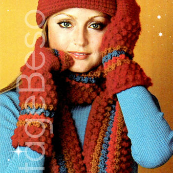 3 Patterns Gauntlets Hat and Scarf 1970s Vintage Crochet Pattern is mainly in single crochet and the super fun popcorn stitch Instant PDF