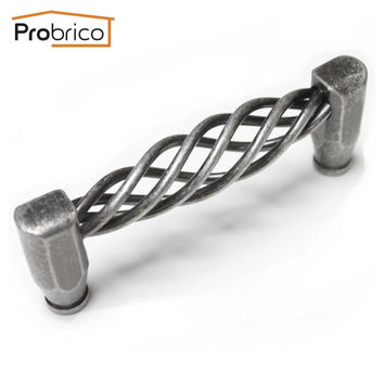 """Probrico 10 Pcs Kitchen Cabinet Handle Pd23187As96 Iron Antique Silver 96Mm 3.8"""" Furniture Vintage Drawer Knob Cupboard Pull"""