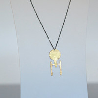 Star Trek Enterprise Frosted Brass Necklace