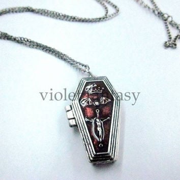 New Fashion Vintage Jewelry Bat Gothic Coffin Alloy Necklaces Dribble Cross = 1946618500