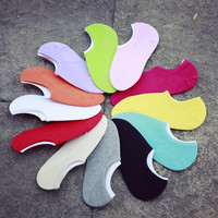 3Pair Women Invisible Socks Candy Colors Low Cut No Show Boat Socks Non-Slip Shallow Mouth Sock Slippers Meias Woman Ankle Socks