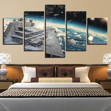 5 Piece Star Wars Movie Millennium Falcon Aircraft Canvas Wall Art Picture
