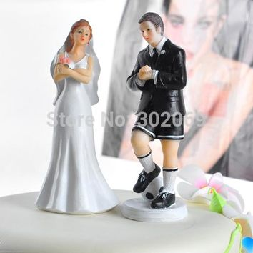 Soccer Player Groom & Exasperated Bride Wedding Cake Topper