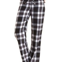 Plaid Flannel Pajama Pants by Charlotte Russe - Ivory Combo