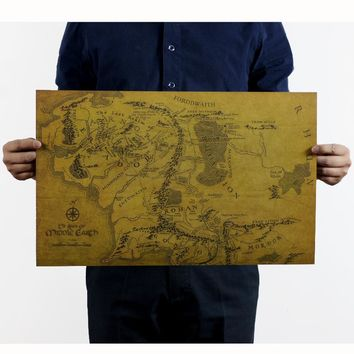 "SYF-N-062 vintage Retro poster Kraft paper 51x35 cm ""Lord of the rings The Lord of the rings map of middle-earth ""wall art craft"