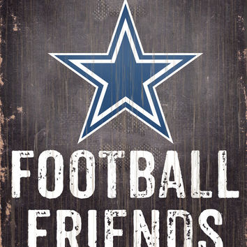 "Dallas Cowboys Wood Sign - Football Friends and Family - 6""x12"""