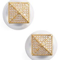 Women's Alex Mika Pyramid Double Stud Earrings - Yellow Gold