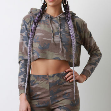 French Terry Camouflage Cropped Hoodie with Shorts Set | UrbanOG