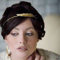 Athena Brass feather Headband by Oceanne on Etsy