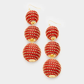 Red & Gold Triple Thread Ball Bon Bon Swirled Designed Earrings