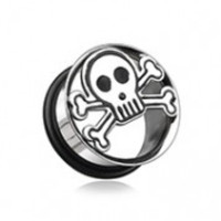 Skull & Crossbones Hollow Steel Single Flared Ear Gauge Plug
