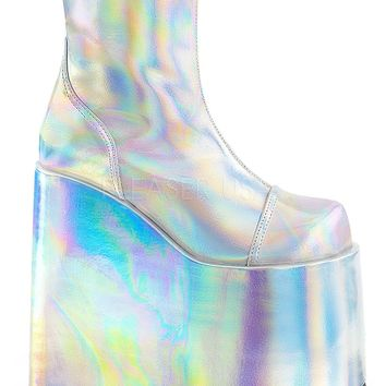 Sliver Hologram Vegan Leather Festival and Rave Boot
